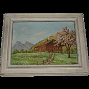 SALE Vintage Oil Painting of Mountainside Cabin, Signed P. Chabloz