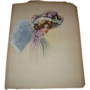 SALE Gorgeous Antique Victorian Watercolor of Pretty Woman, Signed Flippin