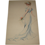 Beautiful Antique Victorian Watercolor of Woman in Blue Dress, Signed Flippin