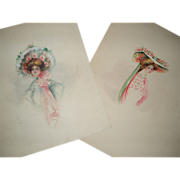 Pair of Antique Victorian Watercolors of Women With Hats, Signed Flippin