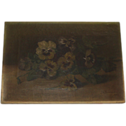 SOLD Antique Pansies Oil Panting, Signed 1895