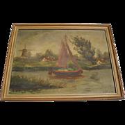 SALE Vintage Seaside Oil Painting, Signed Heyl