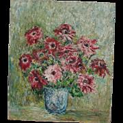 Bold Vintage Floral Still Life Oil Painting, Signed M. Lioni