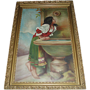 SALE Large Antique Oil Painting of Rebecca at the Well in Magnificent Gilded Frame, Signed 189