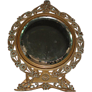Art Nouveau Bronze Table Mirror