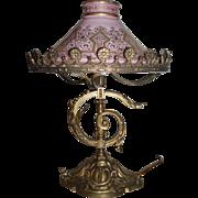 SALE Magnificent Art Nouveau Bronze Table Lamp With Original Glass Shade