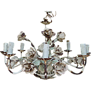 SALE Fabulous Old Metal Roses Tole Chandelier in Original Chippy White Paint