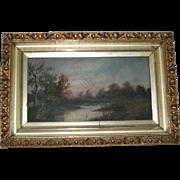 Antique Landscape Oil Painting in Original Gesso Frame