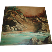 Vintage Rugged Coastal Mountain Scene Oil Painting, Signed