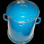 Large Vintage Blue Enameled Metal Covered Bin Pot
