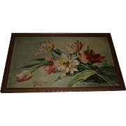 Gorgeous Antique Pink Tulips Floral Still Life Oil Painting, Signed and Dated 1911