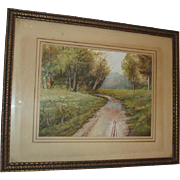Beautiful Antique Landscape Watercolor Painting Country Path