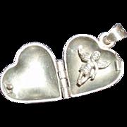 Vintage Sterling Silver Heart Locket With a Cherub Inside