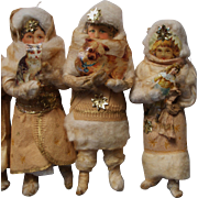 SOLD Very rare beautiful  cotton wool Christmas ornaments, for feather tree or christmas tree.