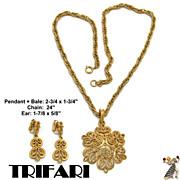 Trifari Necklace Set: Vintage Trifari Pendant Necklace Set GT