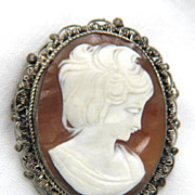 Edwardian Cameo: Edwardian 800 Silver Cannetille Cameo