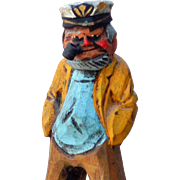 Ruddy Face Sailor Captain Wood Carving Painted Figural