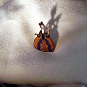 Art Deco possibly Czech Marie Antoinette/Belle Figural Enamel Pin