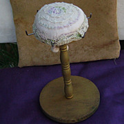Handmade vintage Sewing  Pin Cushion or Notions Stand