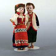 """SALE Antique Bisque Russian Dolls  8""""~ All Original Pair"""
