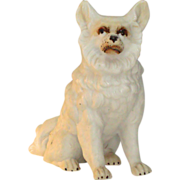 Spitz Dog~Victorian Parian ware ~Germany Antique Dated 1893
