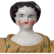 """REDUCED 7"""" Flat top China doll~ smiling!"""