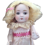 "All Bisque 7""~ ABG Antique doll~ Sleep eyes~ All original w/ mailing crate"