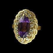 Gorgeous Amethyst Diamond Estate Ring