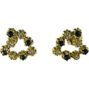 Estate Sapphire/Diamond Heart  Earrings