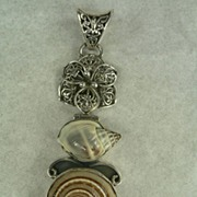 SOLD Artisan Crafted Sterling Silver Shell Pendant