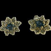 Vintage 14kt Diamond & Sapphire Earrings
