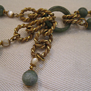 Miriam Haskell Jade & Mother of Pearl Chain Necklace