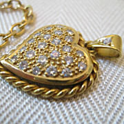 SALE Vintage Diamond 14kt Heart Pendant Necklace