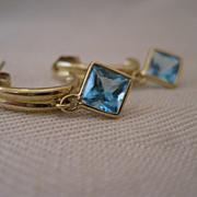 14kt Blue Topaz Hoop Earrings