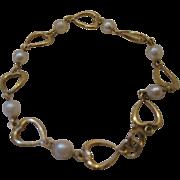 SALE Retro Heart and Pearl Bracelet
