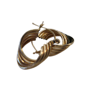 14kt Ribbed Swirl Hoop Earrings