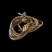 SALE 14kt Ribbed Swirl Hoop Earrings