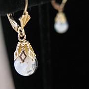 14kt Floating Opal Vintage Dangle Earrings