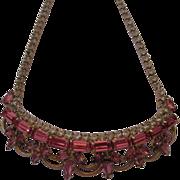 Vintage Pink Tiara Rhinestone Necklace
