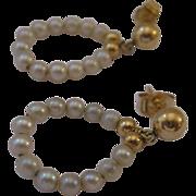 SALE 10kt Gold Pearl Hoop Dangle Earrings