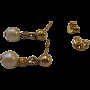SALE Sweet Estate Dangle Pearl Earrings 14kt