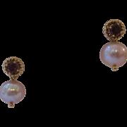14kt Garnet Pearl Drop Earrings