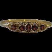 Vintage 14kt Garnet Bangle in Filigree Design