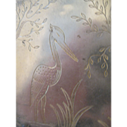 Charming Sterling Over Brass Egret Cosmetic Case