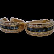 Estate 14kt Sapphire Diamond Huggie Earrings