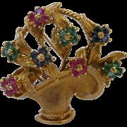 Estate 14kt Gemset Flower Basket Brooch