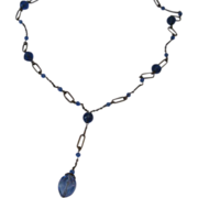 Art Deco Czech Blue Crystal Y Necklace