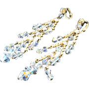 Exquisite Aurora Borealis Crystal Shoulder Duster Earrings