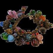 1950's Art Glass Charm Bracelet