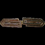18kt Double Greek Key Brooch in White and Black Diamonds